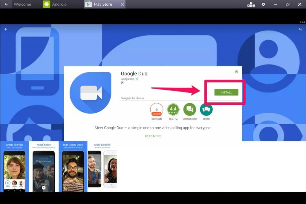 Google Duo for PC Using Bluestacks