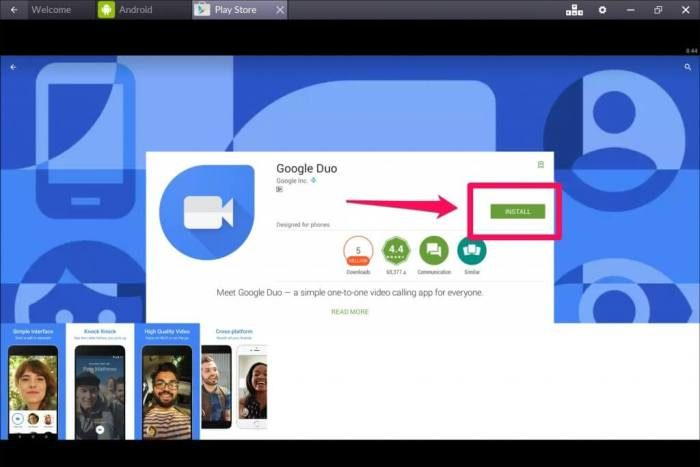 Google Duo for Mac using Bluestacks